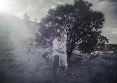 Photo by Israel Baldago - Couple set in quarry with a bot of atmosphere smoke for effect