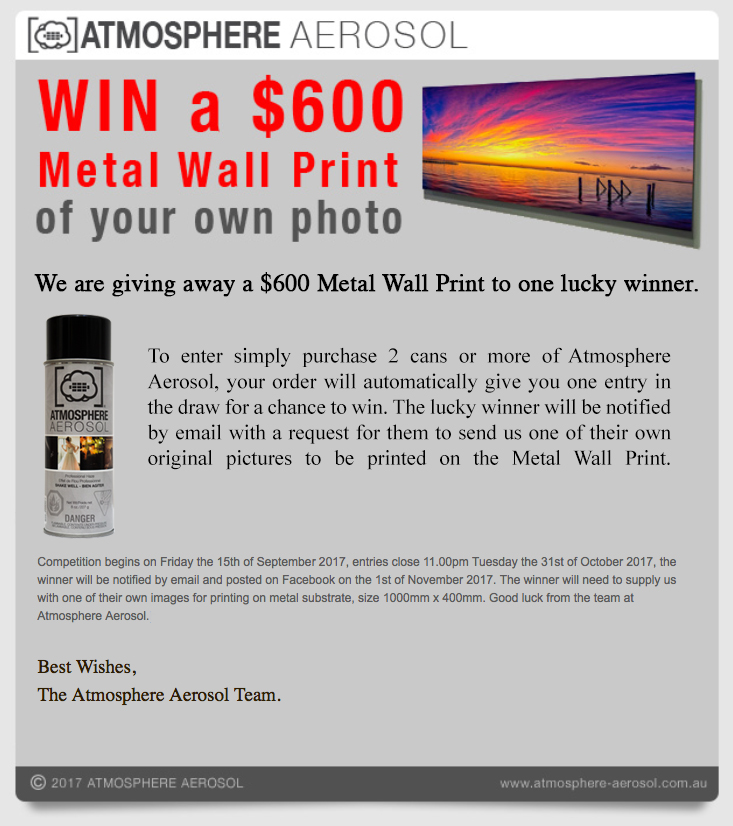 Competition to win a $600 Metal Wall Print